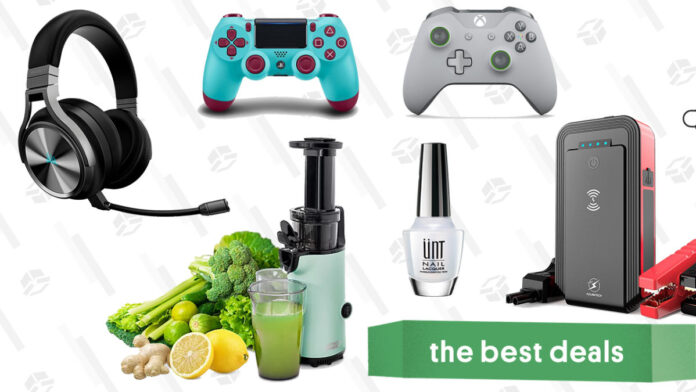 Dash Compact Juicer, Xbox One and PS4 Controllers, Car Jump Starter, Corsair Virtuoso Headset, UNT Ready For Takeoff Peelable Base Coat, and More