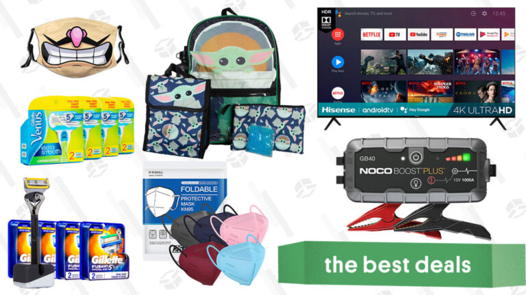 Hisense 70″ 4K TV, The Child Backpack and Lunchbox Set, KN95 Face Masks, Gillette Razor Refills, Noco Boost Plus Jump Starter, and More
