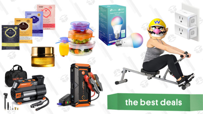 Tacklife Auto Jump Starters & Tire Inflators, Kasa Smart Home Products, Hask Hair Mask Packs, Rowing Machines, and More